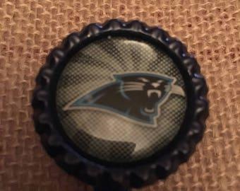 Carolina Panthers NFL Bottlecap Retractable ID Badge Holder Name Tag Reel