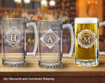 Monogram Swoosh 25oz Beer Mug Stein w/ Custom Initials (9+Styles)