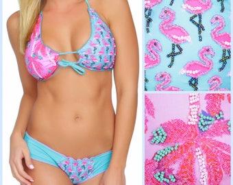 Flamingo Bikini, flamingo swimsuit, Cute Bikini, Unique Swimsuit Sequin Bikini Sexy Bikini swimsuit Bathing Suit Floridita Miami Vice Bikini
