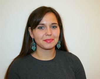 Turquoise Chandelier Earrings, Natural Turquoise Statement Earrings, Long Dangle Earrings, Solid Sterling Silver Earrings, Unique Earrings