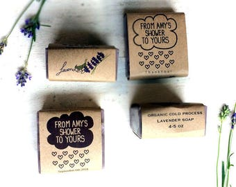 handmade shower favors / handmade soap favors / handmade bridal shower favors / lavender soap favors / from my shower to yours