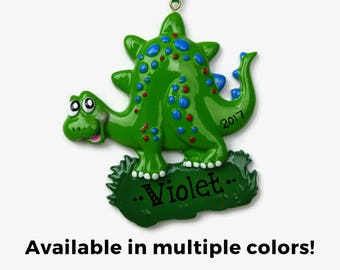 Stegosaurus Personalized Ornament - Dinosaur - Hand Personalized Christmas Ornament