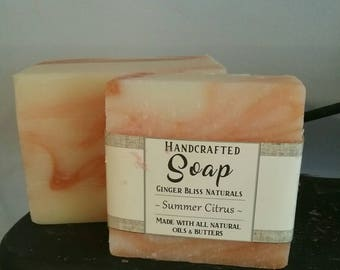 Summer Citrus Soap~ Handcrafted Bar of Soap~ Refreshing Scent- Coconut Oil, Hemp Oil, Orange, Man Soap.