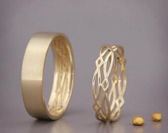SALE 14K Gold Eternity Wedding Rings Set | Handmade solid 14k gold eternity wedding Rings | His and Hers Wedding Bands Set