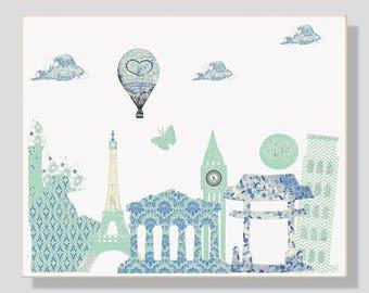 19,Nursery wall art,baby art print,travel nursery,creme,mint,blue,tableau chambre enfant
