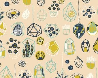 Hanging Terrarium in Shell (Poplin), The Hidden Garden by Miriam Bos for Birch Fabrics 3560