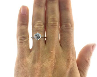 solitaire diamond ring 2 carat classic ring diamond engagement ring 18k white gold - 2 Carat Wedding Ring