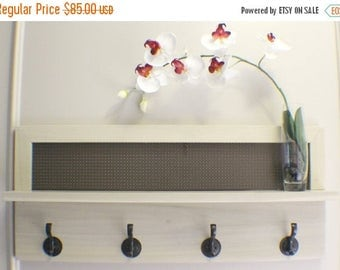 ON SALE You Pick the Stain or Paint Color and Decorative Mesh 4 Hook Wall Mounted Coat Rack with Shelf, Wall Organizer and Shelf