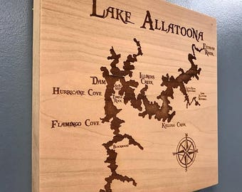 ON SALE Lake Allatoona Laser Engraved Wall Hung Map with Points of Interest in Beautiful Cherry Wood