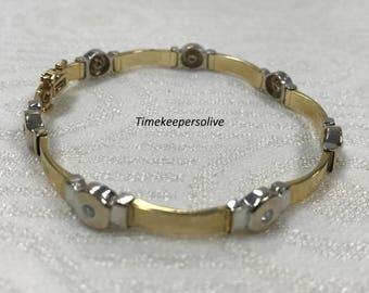 Beautiful Vintage 14k Yellow White Gold with 7 Diamonds 3/4Ct Elegant Bracelet