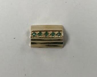 d159 Vintage 14K Yellow Gold 5 Green Emerald Bracelet Slide Charm