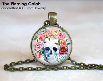BOHO SKULL Pendant • Skull and Flowers • Floral Boho Skull • Human Skull & Flowers • BoHo Skull • Gift Under 20 • Made in Australia (P1508)