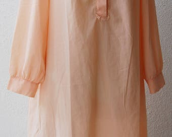Vintage SCHLESSER Peach Nightgown with Lace Size 44 Large