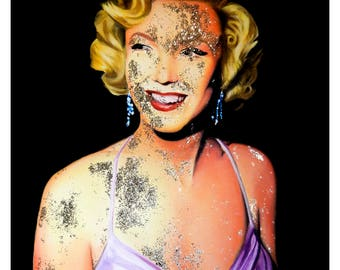 Marilyn Monroe #2 // Old Hollywood // Celebrity Portrait // Movie Star // Fine Art Print // Oil Painting // Gold // Glitter