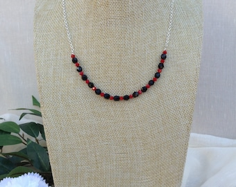 Jet Black and Red Crystal Necklace