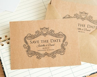 Kraft Save the date wedding invitations. Kraft Invite postcards. Single sided with optional envelopes. Elegant kraft wedding stationary. UK