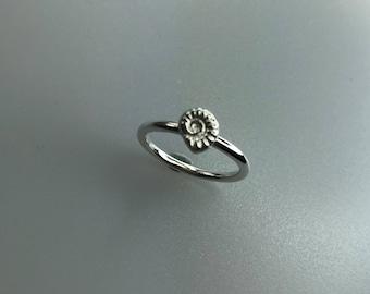 Silver Ammonite Ring, Sand Cast Ammonite, 2mm Ring
