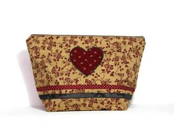 Toilet bag, heart, Burgundy floral and rhinestone belt