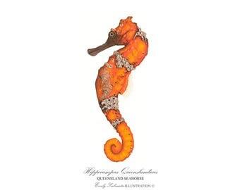 Seahorse Art Print | Sea Creature Wall Art | Scientific Nature Illustration Hippocampus | Orange Watercolor Home Decor Poster