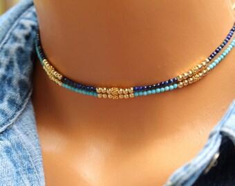 Turquoise Choker Necklace. Lapis Choker Necklace, Beaded Gemstone Choker Necklace, Boho Chic Beaded Choker Necklace, Boho Layering Necklace