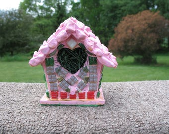 """Handmade stained glass birdhouse 5.5"""" tall"""