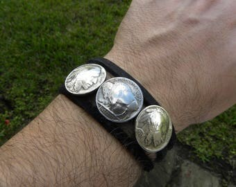Cuff Bracelet wristband Vintage Buffalo Indian Nickel coins  Buffalo Bison  leather nice gift for Buffalo Bills fan hatband