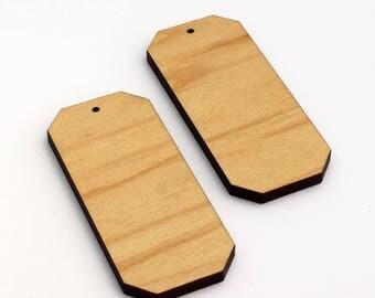 2 Emerald Cut Blank Beads : Maple