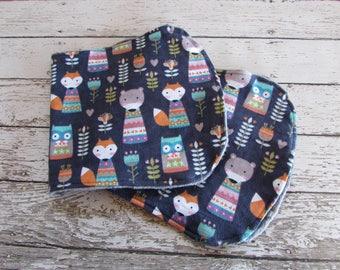 Burp Cloths - Burp Rags - Drool Rags, Foxes Burp Cloths Set of 2 Ready To Ship