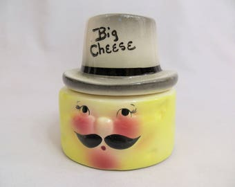 Anthropomorphic Big Cheese ceramic storage container by DeForest of California