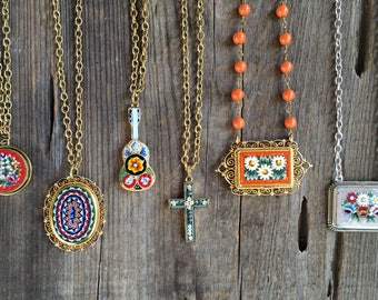 Vintage colorful Italian micro mosaic pendant necklaces!