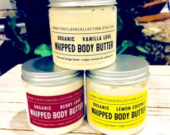 Whipped Body Butter,4oz,Whipped Shea Butter,Vegan Body Butter,Organic Skin Care,Shea Butter,Almond Oil,Gift for Her,Stocking Stuffer, Lotion