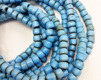 Antique African trade beads, vintage turquoise blue crow beads, Old handmade organic irregular beads, 6x6mm glass beads, full strand!