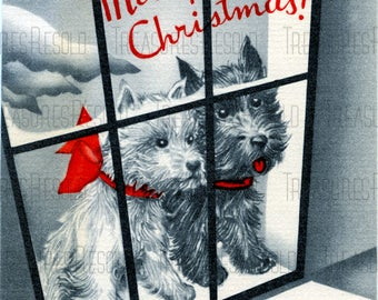 Retro Black Scottie Dogs Looking Out The Window Merry Christmas Card #680 Digital Download