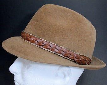 Vintage Biltmore Velurin Tan Felt Fedora Hat Size 7