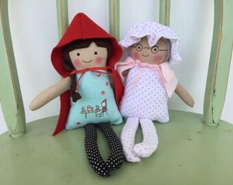 Little Red Riding Hood Set of 3 Dolls, Grandmother, Little Red Riding Hood and Mr. Wolf