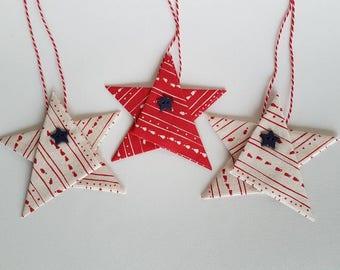 Fabric star tree ornament