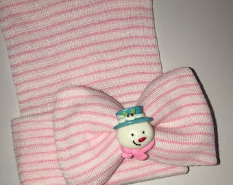 Newborn HOSPITAL Hat with Pretty Bow and topped off with a snowman! CUTE! Choice od Hat Color
