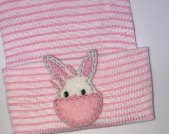 OnLy 1 Left! Newborn Hospital Hat! Pink and White Striped hospital hat topped off with Bunny in egg!  Spring Baby Great Gift!