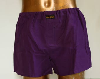 Shorts underpants for men, violet 100% cotton, one size