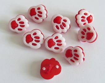 Red and white animal print button