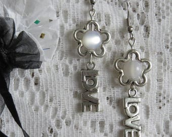 Silver Flower Earrings & Love