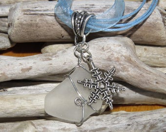 Frosted glass and silver snowflake charm necklace