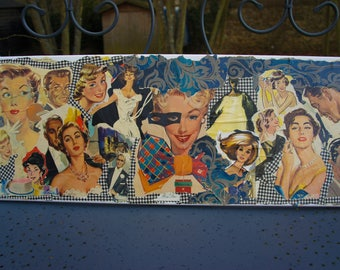 """""""FACES"""" COLLAGE ON CANVAS VINTAGE ADS"""