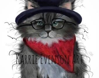 Cat art print , kitten art, wall art