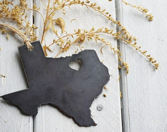 Love Dallas Forth Worth Texas State Steel Ornament Rustic TX Metal State Heart Host Gift Keepsake Travel Wedding Favor By BE Creations