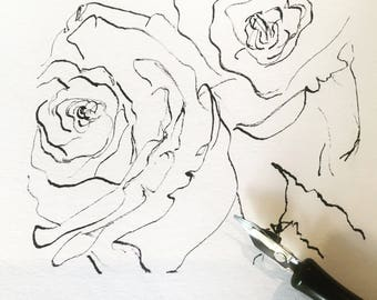Hand dipped Black and White pen and ink Rose's