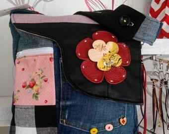 Bag pattern small strawberries, an original creation, handmade by Sacs AS