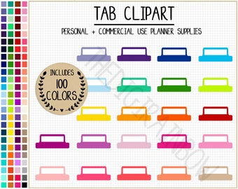 SALE 100 TAB clipart rainbow tab stickers printable planner divider colorful planner tabs blank planner tabs blank divider pastel stickers