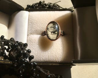 Mourning ring | pet memorial | rock crystal bezel with custom engraving | pet mourning jewelry