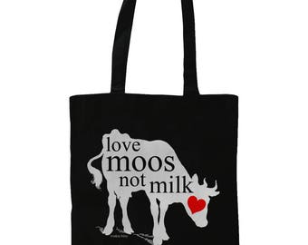 Love Moos Not Milk. Illustrated Graphic Tote Bag With Love Heart Cow Design. Black.